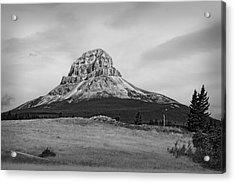 Crowsnest Mountain Black And White Acrylic Print