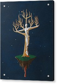Acrylic Print featuring the painting Crucifix 2 by Steve  Hester