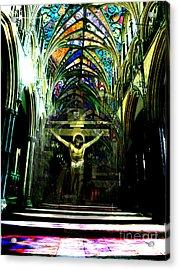 Crucifix Reflexions Acrylic Print by Karine Percheron-Daniels
