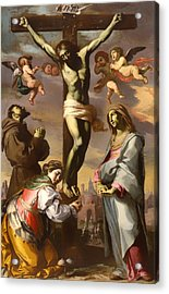 Crucifix With The Virgin And Saints Francis And Agatha Acrylic Print by Mountain Dreams