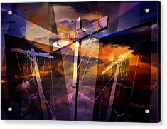 Crucifixion Crosses Composition From Clotheslines Acrylic Print by Randall Nyhof