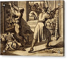Cruel Chinese Punishment With Bound Acrylic Print by Dutch School
