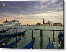 Cruise Ship Entering The Venice Lagoon At Dawn Acrylic Print by Kiril Stanchev