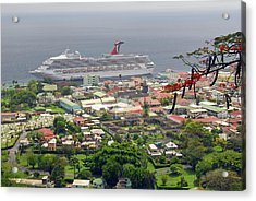 Cruise Ship In Dominica Acrylic Print by Willie Harper