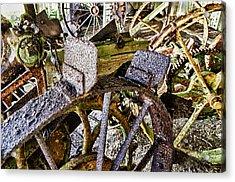 Crusty Rusty Tractor Wheels Acrylic Print by Robert Rus