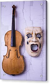Crying Mask With Violin Acrylic Print by Garry Gay