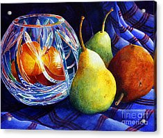 Acrylic Print featuring the painting Crystal And Pears by Roger Rockefeller