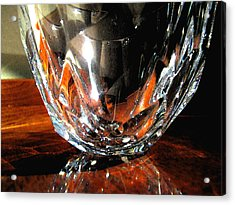 Acrylic Print featuring the photograph Crystal Bowl With Watercolor Filter by Mary Bedy