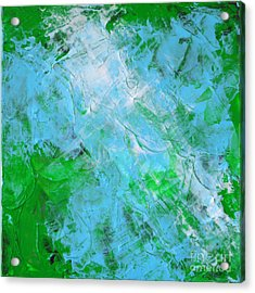 Crystal Cave - Green Pale Blue Abstract By Chakramoon Acrylic Print by Belinda Capol
