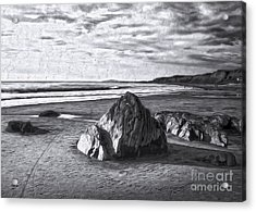 Acrylic Print featuring the painting Crystal Cove Sea Shore - Black And White by Gregory Dyer