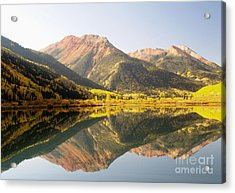 Crystal Lake And Red Mountain Acrylic Print by Alex Cassels