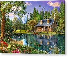 Crystal Lake Cabin Acrylic Print by Dominic Davison
