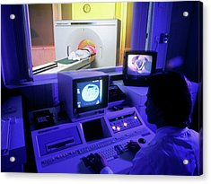 Ct Scan In Progress Acrylic Print by Simon Fraser/science Photo Library