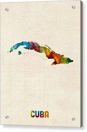 Cuba Watercolor Map Acrylic Print by Michael Tompsett