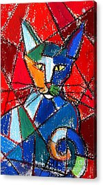 Cubist Colorful Cat Acrylic Print by Mona Edulesco