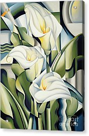 Cubist Lilies Acrylic Print by Catherine Abel