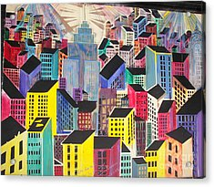 Cubist New York Acrylic Print by James Dolan