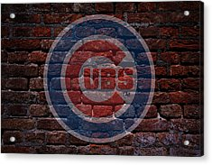 Cubs Baseball Graffiti On Brick  Acrylic Print