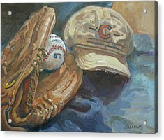 Cubs Fan Acrylic Print by Nora Sallows