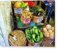 Cucumbers Peanuts And Melon Acrylic Print by Buzz Coe