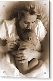 Cuddling With Mom Acrylic Print