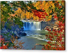 Cumberland Falls In Autumn 2 Acrylic Print by Mel Steinhauer