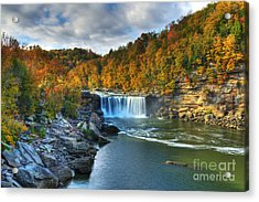 Cumberland Falls In Autumn Acrylic Print by Mel Steinhauer