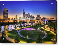 Cumberland Park And Nashville Skyline Acrylic Print by Lucas Foley