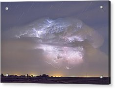 Cumulo-nimbus Lightning Storm And Star Trails Above Acrylic Print by James BO  Insogna
