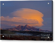 Cumulus Cloud Cap Over Heart Mountain   #2022 Acrylic Print