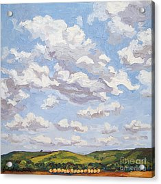 Acrylic Print featuring the painting Cumulus Clouds Over Flint Hills by Erin Fickert-Rowland