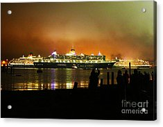 Acrylic Print featuring the photograph Cunard's 3 Queens by Terri Waters