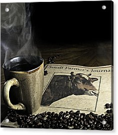 Cup Of Coffee And Small Farmer's Journal 1 Acrylic Print