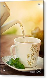 Cup Of Tea Acrylic Print by Mythja  Photography