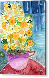 Cup Of Yellow Flowers- Abstract Floral Painting Acrylic Print by Linda Woods