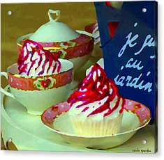 Cupcakes And Tea Je Suis Au Jardin Coffee Shop City Scene Cafe Montreal Food  Art Carole Spandau Acrylic Print by Carole Spandau