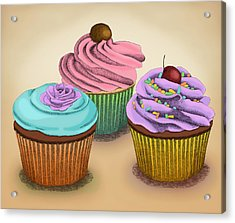 Acrylic Print featuring the drawing Cupcakes by Meg Shearer