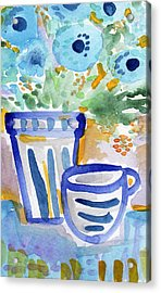 Cups And Flowers-  Watercolor Floral Painting Acrylic Print by Linda Woods