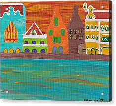 Curacao's Handelskade Abstract Acrylic Print by Melissa Vijay Bharwani