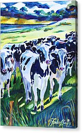 Curiosity Cows Original Sold Prints Available Acrylic Print by Therese Fowler-Bailey