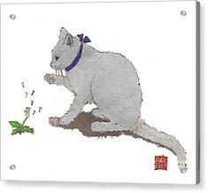 Cat Art Hand-torn Newspaper Painting  Acrylic Print by Keiko Suzuki