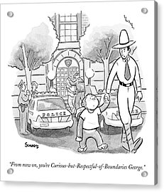 Curious George Is Escorted Out Of A Police Acrylic Print