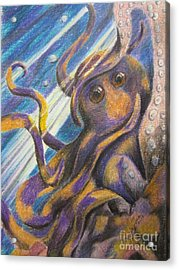 Curious Octopus  Acrylic Print by Laurianna Taylor