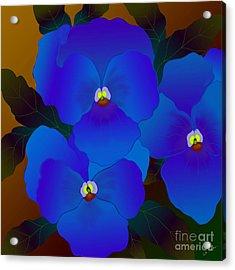 Acrylic Print featuring the digital art Curious Pansies by Latha Gokuldas Panicker