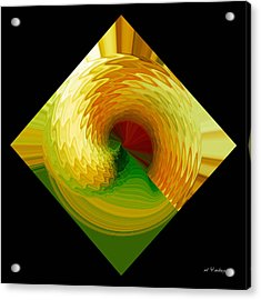 Acrylic Print featuring the digital art Curl I In Green And Gold by Roy Erickson