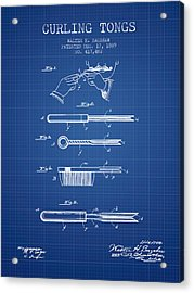 Curling Tongs Patent From 1889 - Blueprint Acrylic Print by Aged Pixel