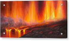 Erupting Kilauea Volcano On The Big Island Of Hawaii - Lava Curtain Acrylic Print
