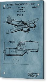 Curtiss-wright Patent Blue Acrylic Print by Dan Sproul