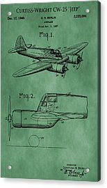 Curtiss-wright Patent Green Acrylic Print by Dan Sproul
