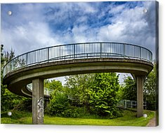 Curved Bridge. Acrylic Print by Gary Gillette